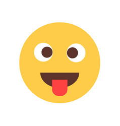 yellow smiling cartoon face show tongue fool emoji vector image