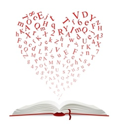 Open book with heart of letters vector image