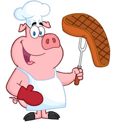Pig Chef Holding A Fork With Roasted Steak vector image