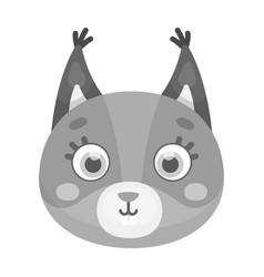 Squirrel muzzle icon in monochrome style isolated vector