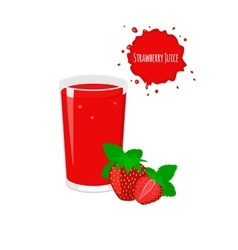 strawberry juice with ripe strawberry vector image