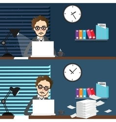 businessman working night and day over time work vector image vector image