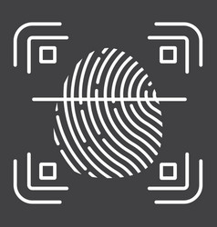 fingerprint scanner line icon id and security vector image vector image
