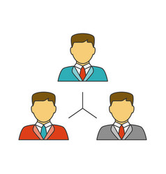 people network flat line icon vector image