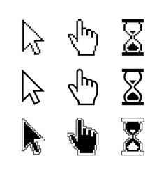 Pixel cursors icons - mouse cursor hand pointer vector image vector image
