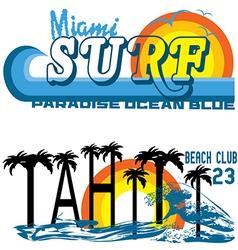 tahiti Tropical set miami and tahiti vector image