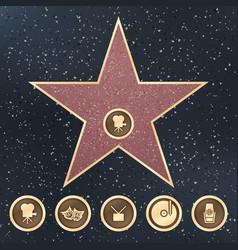 walk of fame star granite sign on sidewalk with vector image