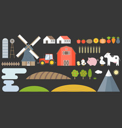 design elements of farm and barn collection vector image