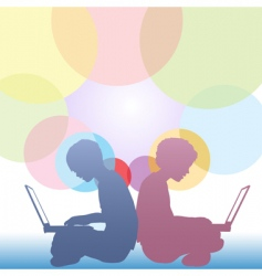 girl and boy use laptops vector image vector image
