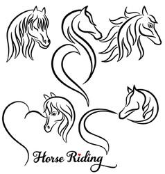 Horse riding set vector
