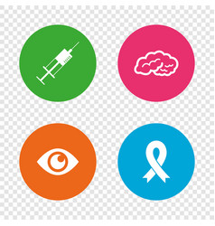 medicine icons syringe eye brain and ribbon vector image vector image