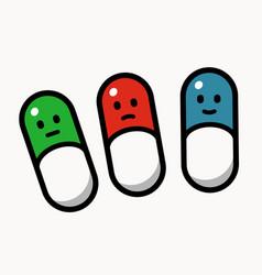 three smiley pills vector image