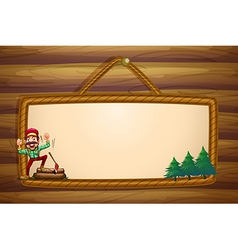 A hanging wooden template with a lumberjack vector image vector image