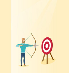 Bowman aiming with a bow and arrow at the target vector