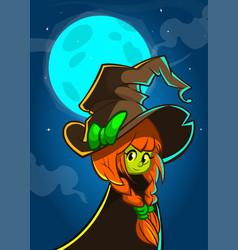 cartoon witch in big hat vector image