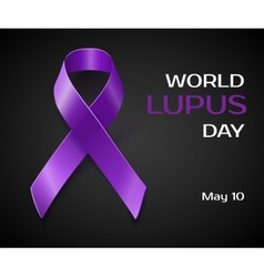 Purple Lupus awareness ribbon isolated on black vector image