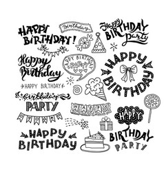 set of happy birthday hand drawn calligraphy pen vector image