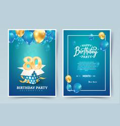 80th years birthday invitation double card vector