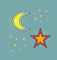 Abstract yellow dotted and colorful moon and stars vector