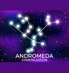 Andromeda constellation starry night sky cluster vector