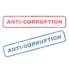 Anti-corruption textile stamps vector