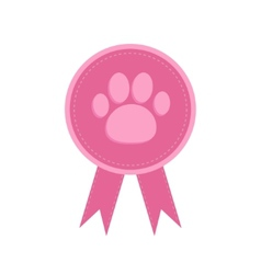 Badge with dog cat paw print and ribbons Award vector image