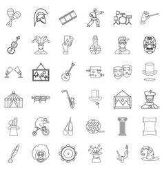 Ballet icons set outline style vector