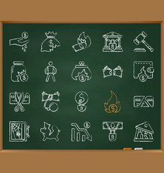 bankruptcy chalk draw line icons set vector image