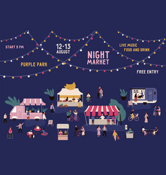 Banner night market with place for text on vector