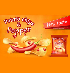 Banner with potato chips and chili pepper vector