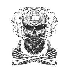 Bearded and mustached hipster skull vector