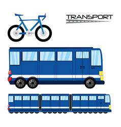 Bicycle bus and train transportation set icon vector