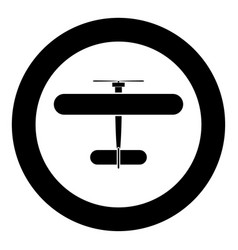 biplane icon black color in circle vector image