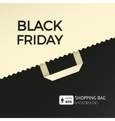 Black friday flat background with shopping bag vector