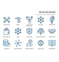 Blockchain flat line icon set vector