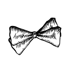 bow tie sketch icon on white background vintage vector image
