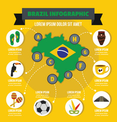 brazil infographic concept flat style vector image