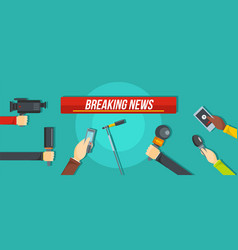 breaking news banner flat style vector image