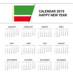 Calendar 2019 chechen republic flag background vector