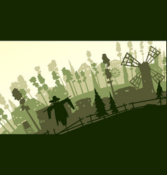 cartoon farm in green tone vector image