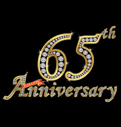 celebrating 65th anniversary golden sign vector image