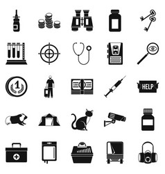 Chase icons set simple style vector