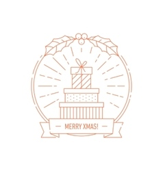 Christmas and Year creative badge with gift boxes vector image