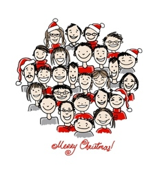 Christmas party with group of people sketch for vector image