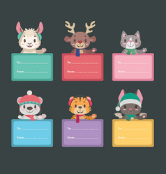 Christmas present tags with cute animals vector