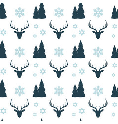 christmas seamless pattern with blue deers vector image