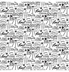 cinema hand drawn seamless pattern vector image