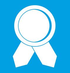 Circle badge wih ribbons icon white vector