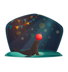 circus seal balancing with red ball on arena vector image