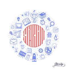 concept of a startup lettering in the circle vector image